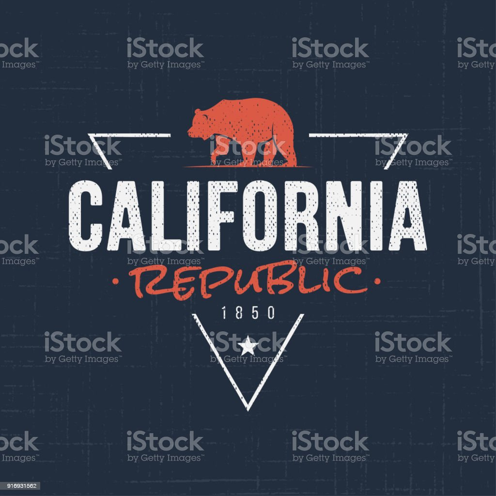 California republic. T-shirt and apparel design vector art illustration