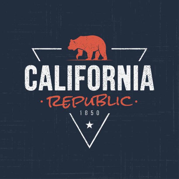 illustrations, cliparts, dessins animés et icônes de république de californie. conception de t-shirt et vêtements - ours