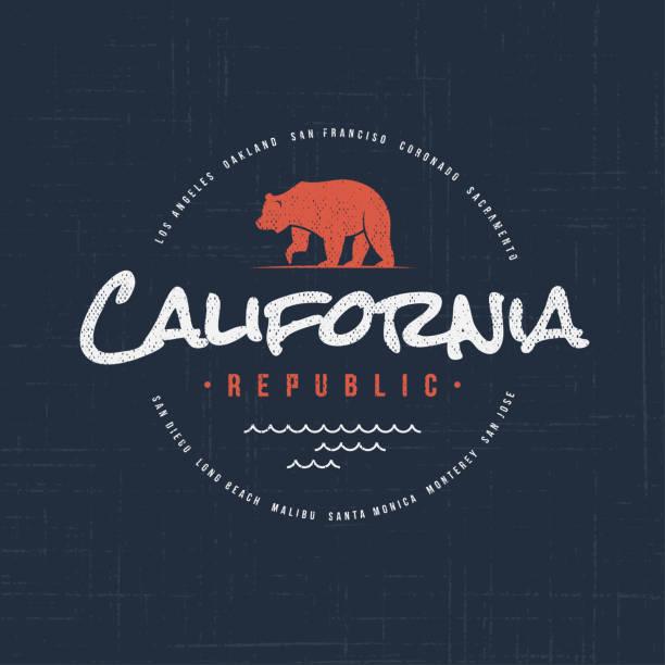 California republic. T-shirt and apparel design vector art illustration