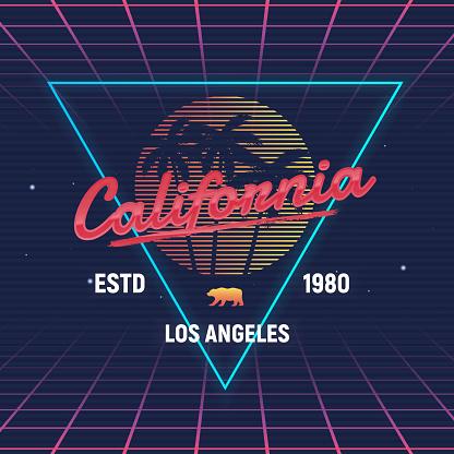 California retro futuristic glow logo. 80's style Beach palm and retro sun. Vector Print for T-shirt, typography.