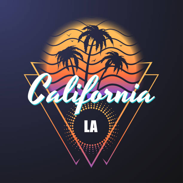 california retro style illustration - beach fashion stock illustrations, clip art, cartoons, & icons