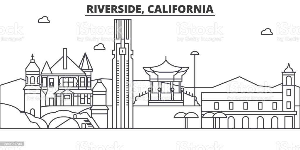 California , Riverside architecture line skyline illustration. Linear vector cityscape with famous landmarks, city sights, design icons. Landscape wtih editable strokes vector art illustration
