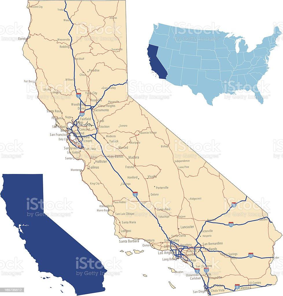 Mapa De Carreteras De California Arte Vectorial De Stock Y Más - Mapa de california