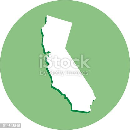 Vector illustration of a white California map with shadow in a green circle