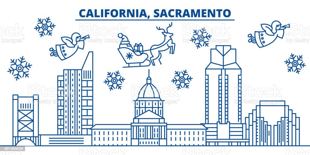 USA, California, Sacramento winter city skyline. Merry Christmas and Happy New Year decorated banner. Winter greeting card with snow and Santa Claus. Flat, line vector. Linear christmas illustration vector art illustration