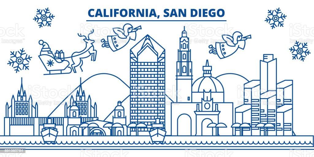Usa California San Diego Winter Skyline Der Stadt Frohe Weihnachten ...