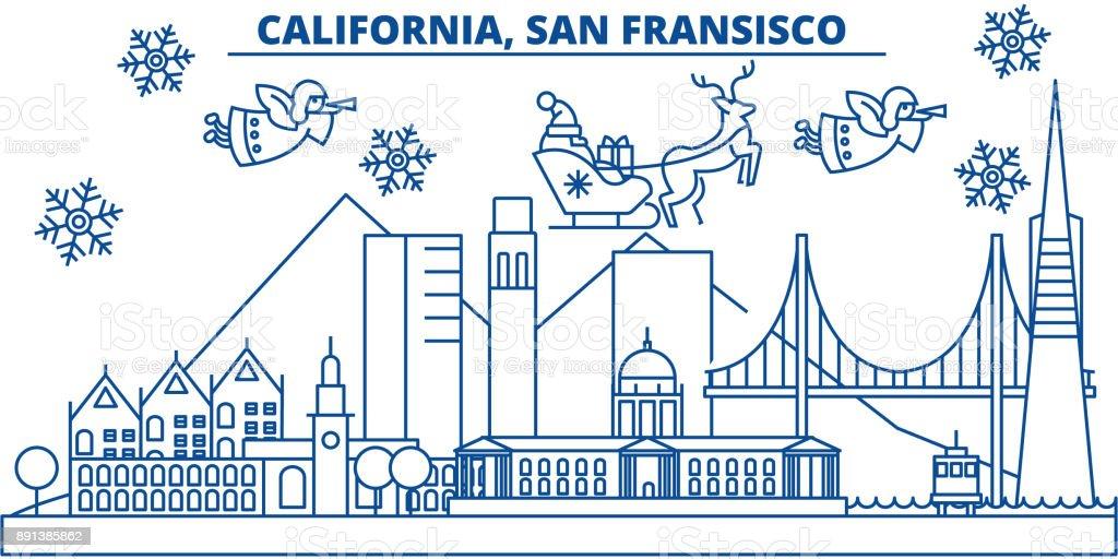 Usa California San Francisco Winter Skyline Der Stadt Frohe ...