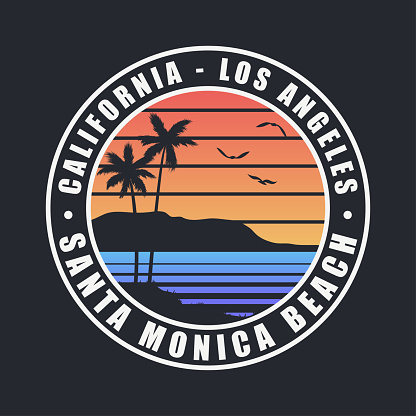 California Santa Monica Beach t-shirt design. Typography graphics for tee shirt with palm trees. Los Angeles county apparel print. Vector