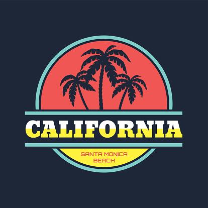 California - Santa Monica beach - vintage illustration concept