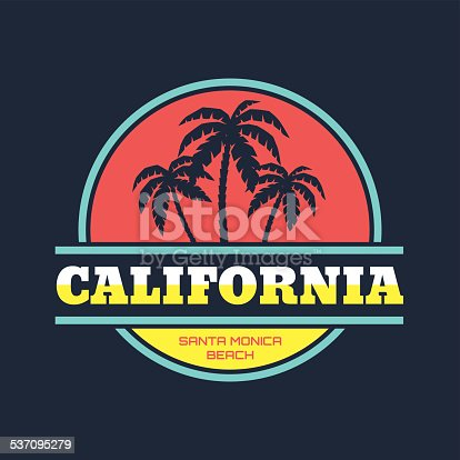 istock California - Santa Monica beach - vintage illustration concept 537095279