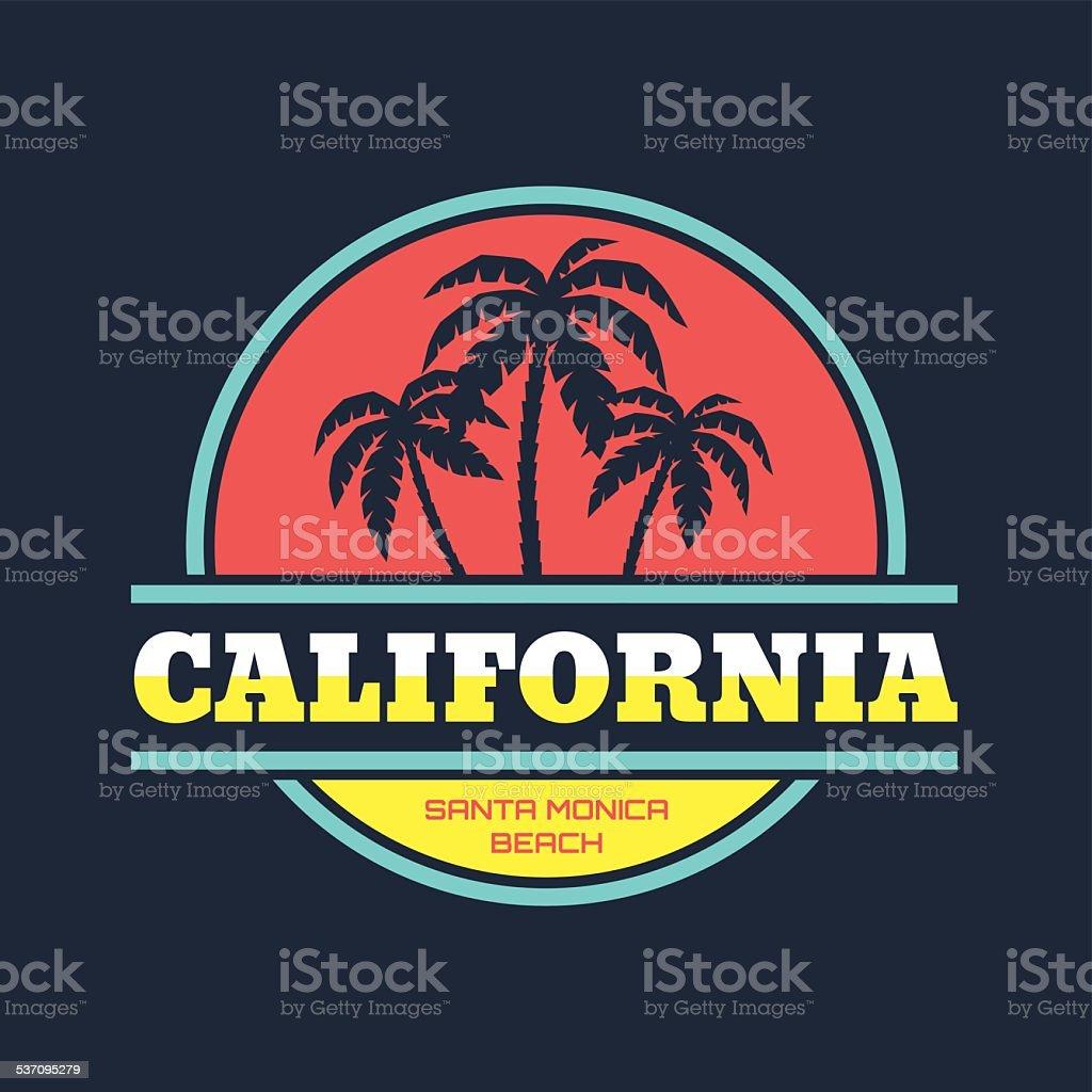California - Santa Monica beach - vintage illustration concept vector art illustration