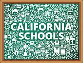California Schools School and Education Vector Icons on Chalkboard