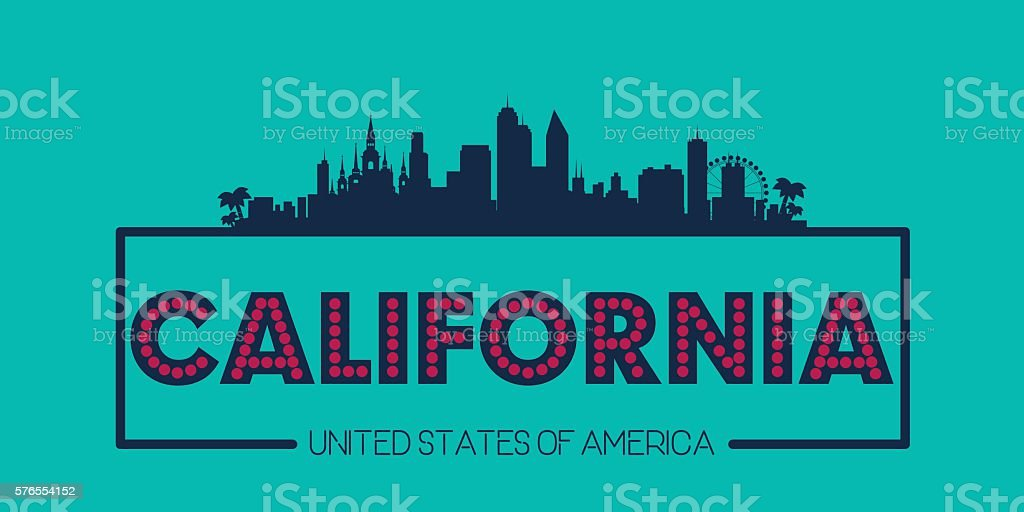 California skyline silhouette poster vector vector art illustration