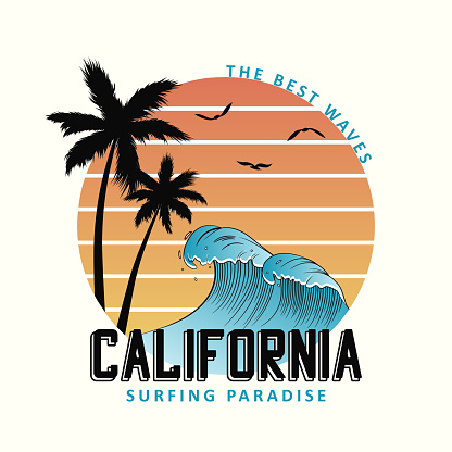 California slogan for t-shirt typography with waves and palm trees.