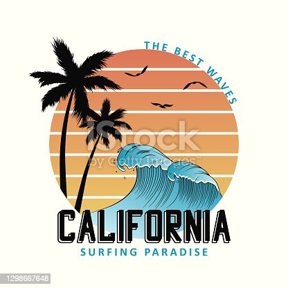 California slogan for t-shirt typography with waves and palm trees. Surf tee shirt design, surfing apparel print. Vector illustration.