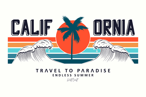 California slogan for t-shirt typography with waves, palm trees and sun.