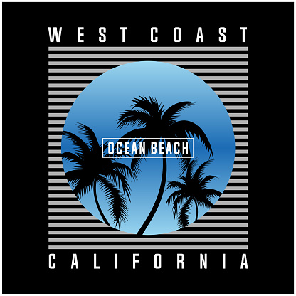 california slogan with ocean beach illustration for t shirt design and other uses in vector graphic