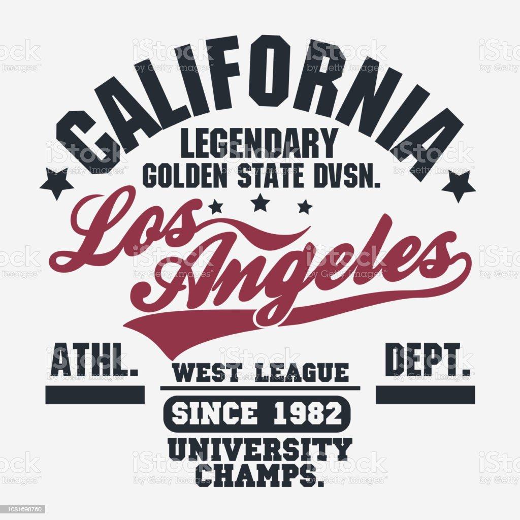 38f5f92c4 California sport wear T-shirt Typography design. Vector - Illustration .