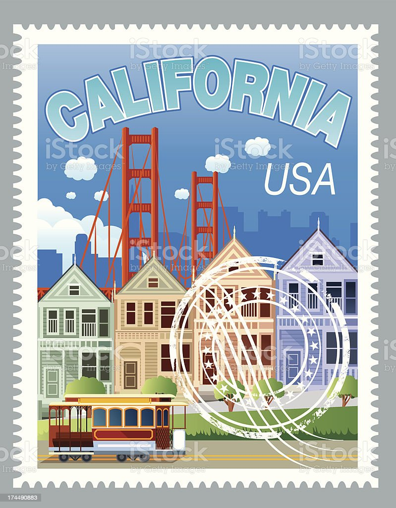 California Stamp royalty-free stock vector art