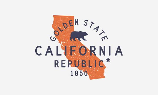 California State logo, emblem, label. The Golden State. Print for T-shirt, typography. USA California vintage design. California map. San Francisco, San Diego, Los Angeles emblem. Vector illustration