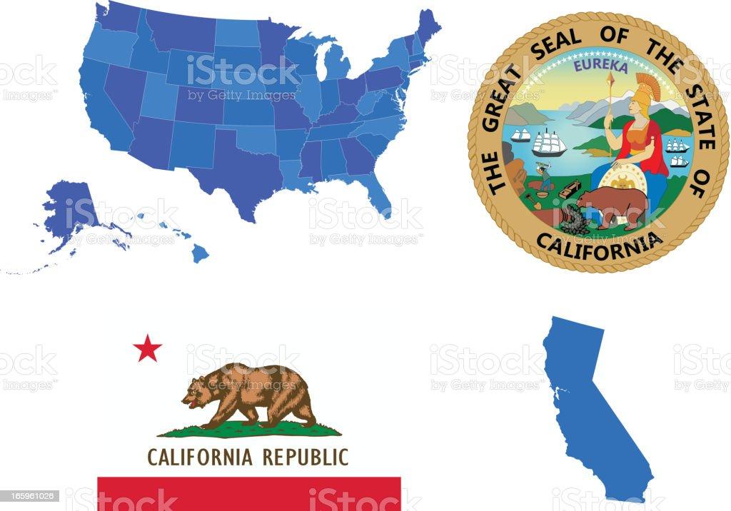 California state set vector art illustration