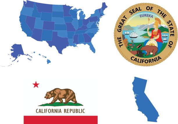 California state set Vector illustration of California state, contains: california stock illustrations