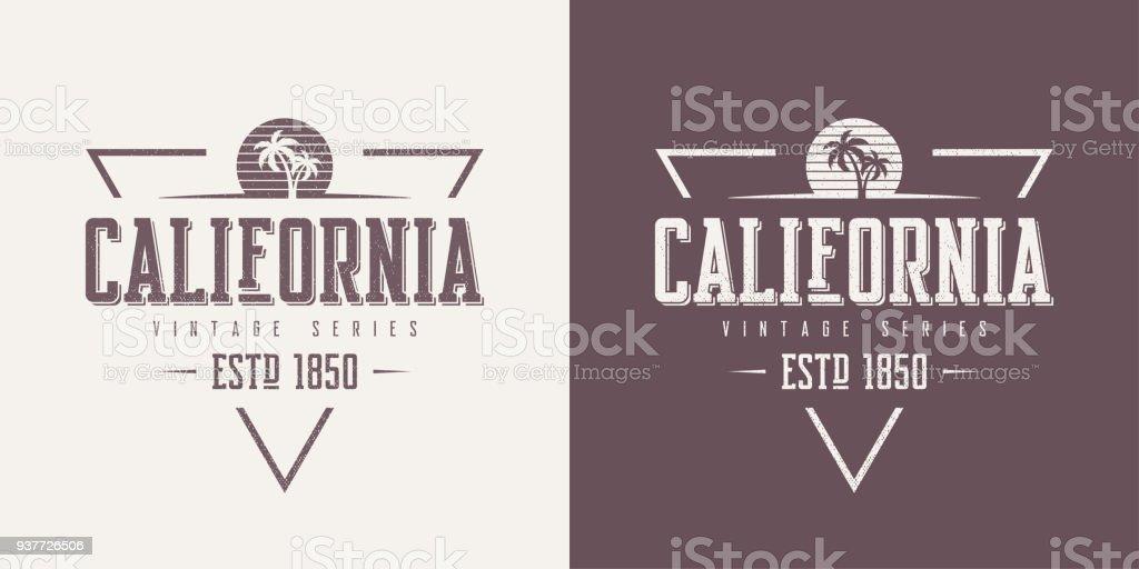 Estado de California con textura vector vintage camiseta y ropa de diseño, tipografía, impresión, símbolo, cartel. - ilustración de arte vectorial