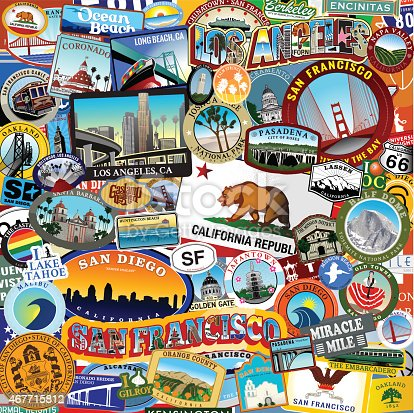 California Super Sticker Collage with many different landmarks