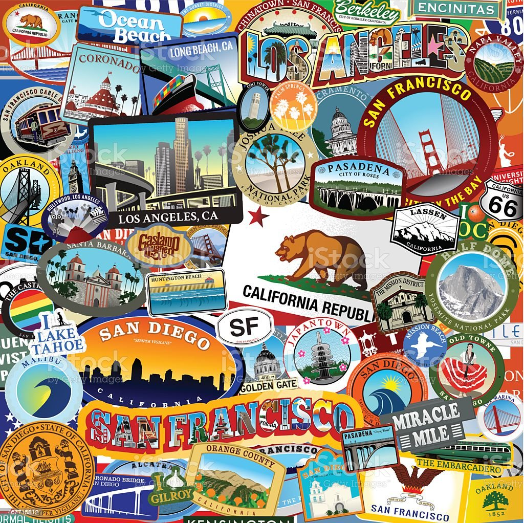 California Super Sticker Collage vector art illustration
