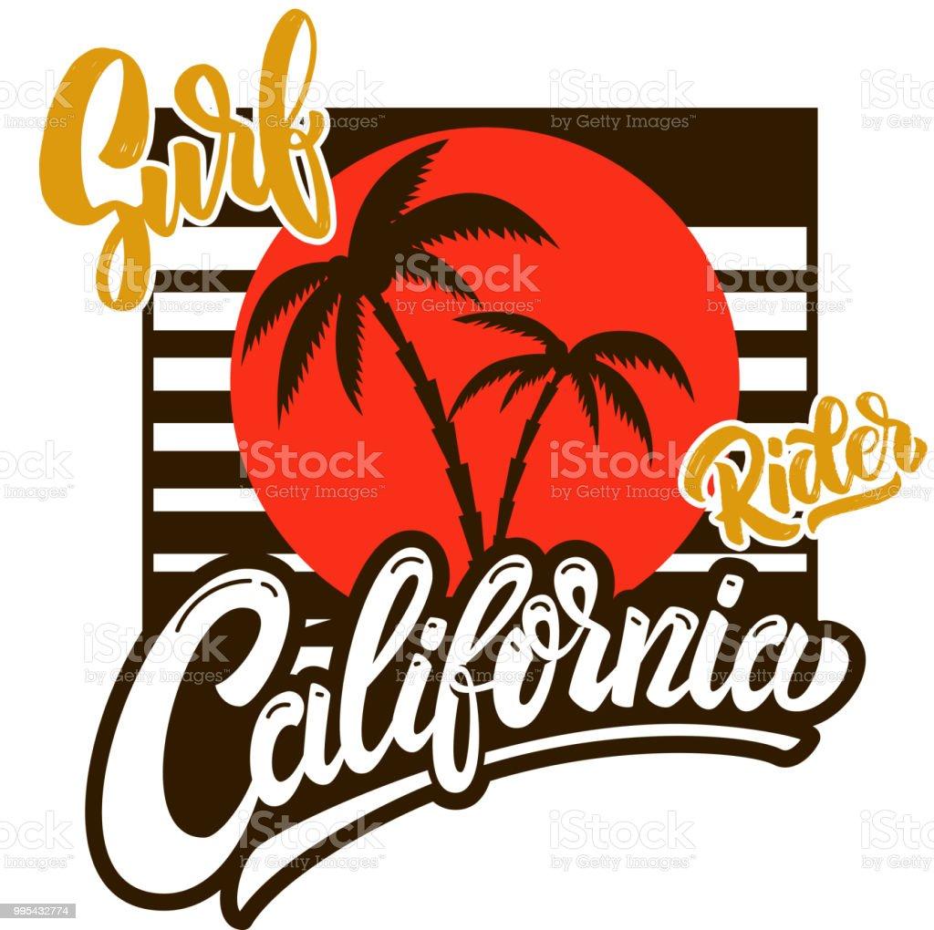 692060c5be2af Jinete de surf de California. Plantilla poster con letras y las palmas  ilustración de jinete