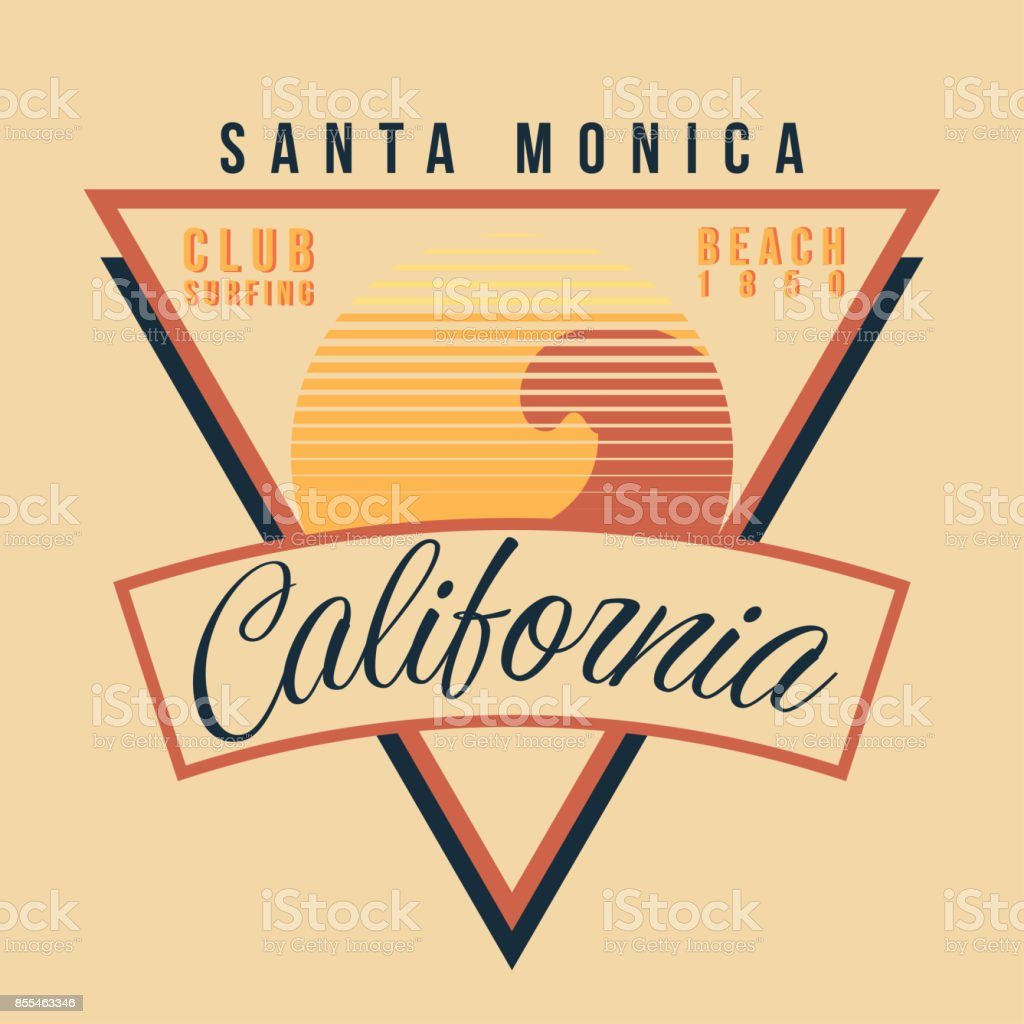 California surf sport typography. Vintage t shirt graphic 80s style vector art illustration
