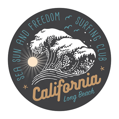 California Surfing Club Colored Label On Dark Background