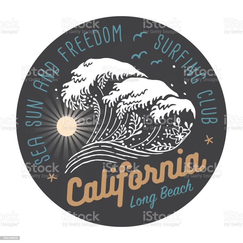 California Surfing Club Colored Label On Dark Background vector art illustration