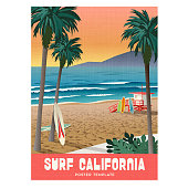 California surfing travel poster with sunset and palm trees. Vector illustration. Summer travel poster or sticker design.