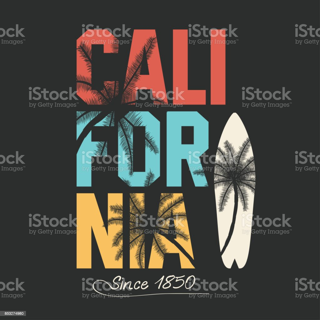 California, surfing typography. T-shirt graphics with tropic palms vector art illustration