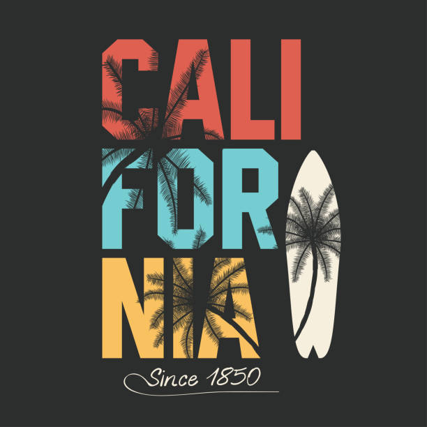 california, surfing typography. t-shirt graphics with tropic palms - beach fashion stock illustrations, clip art, cartoons, & icons