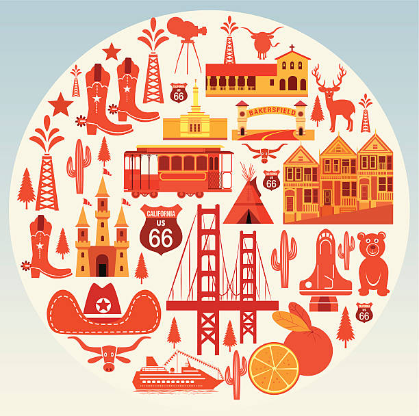 California Symbols Travel Vector California Symbols Travel oakland stock illustrations