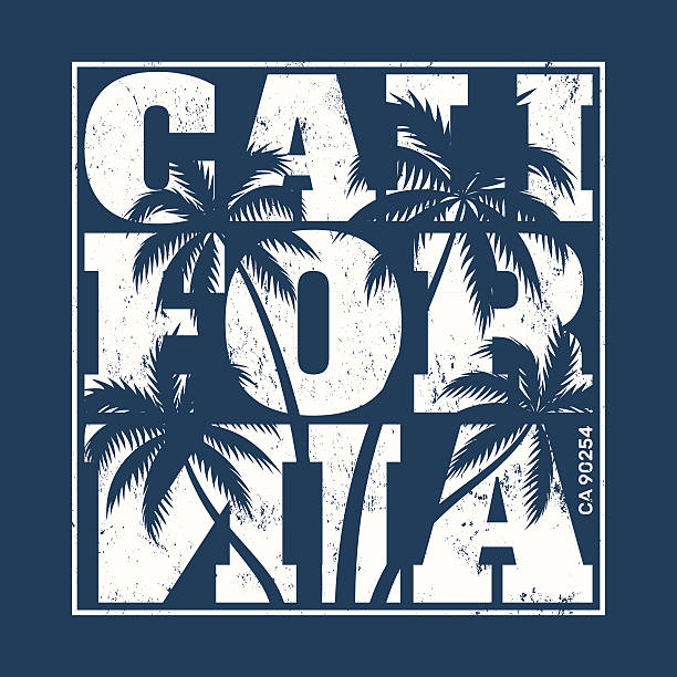 California tee print with palm trees. vector art illustration