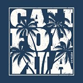 California tee print with palm trees.