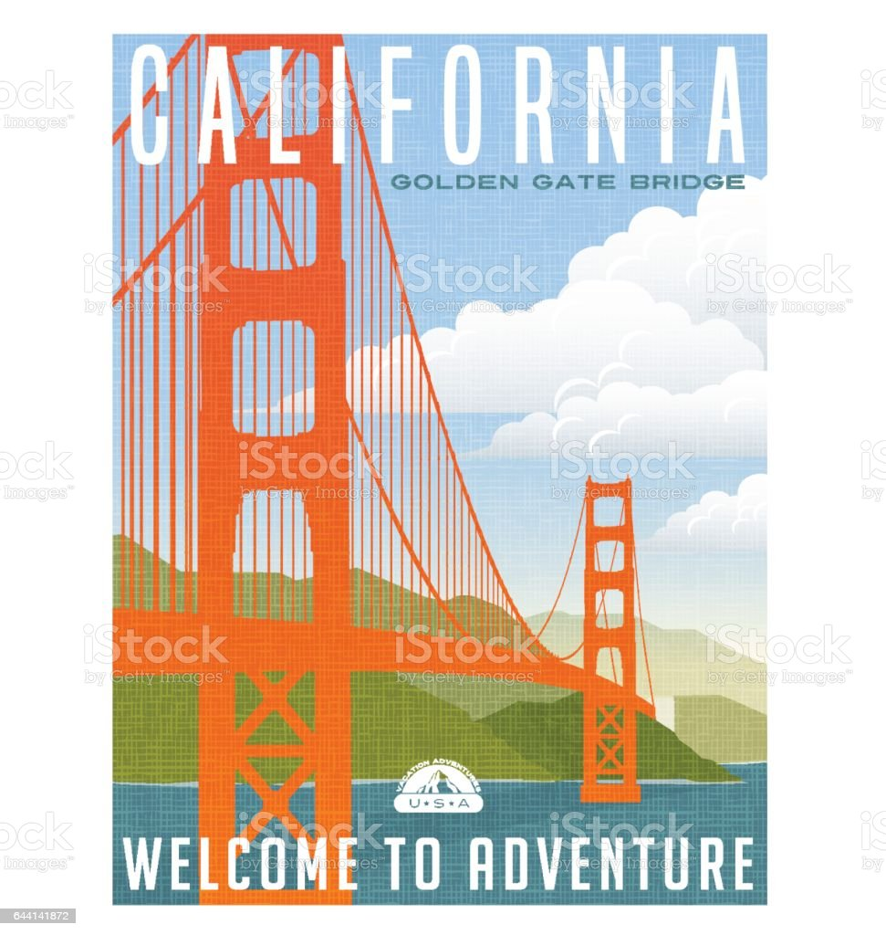 California travel poster. Vector illustration of golden gate bridge. vector art illustration