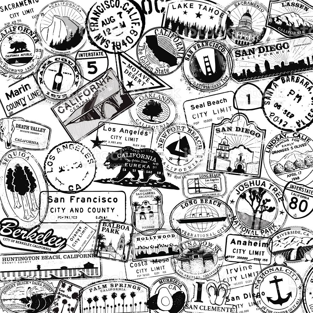 California Travel Stamp Background Stock Vector Art Amp More