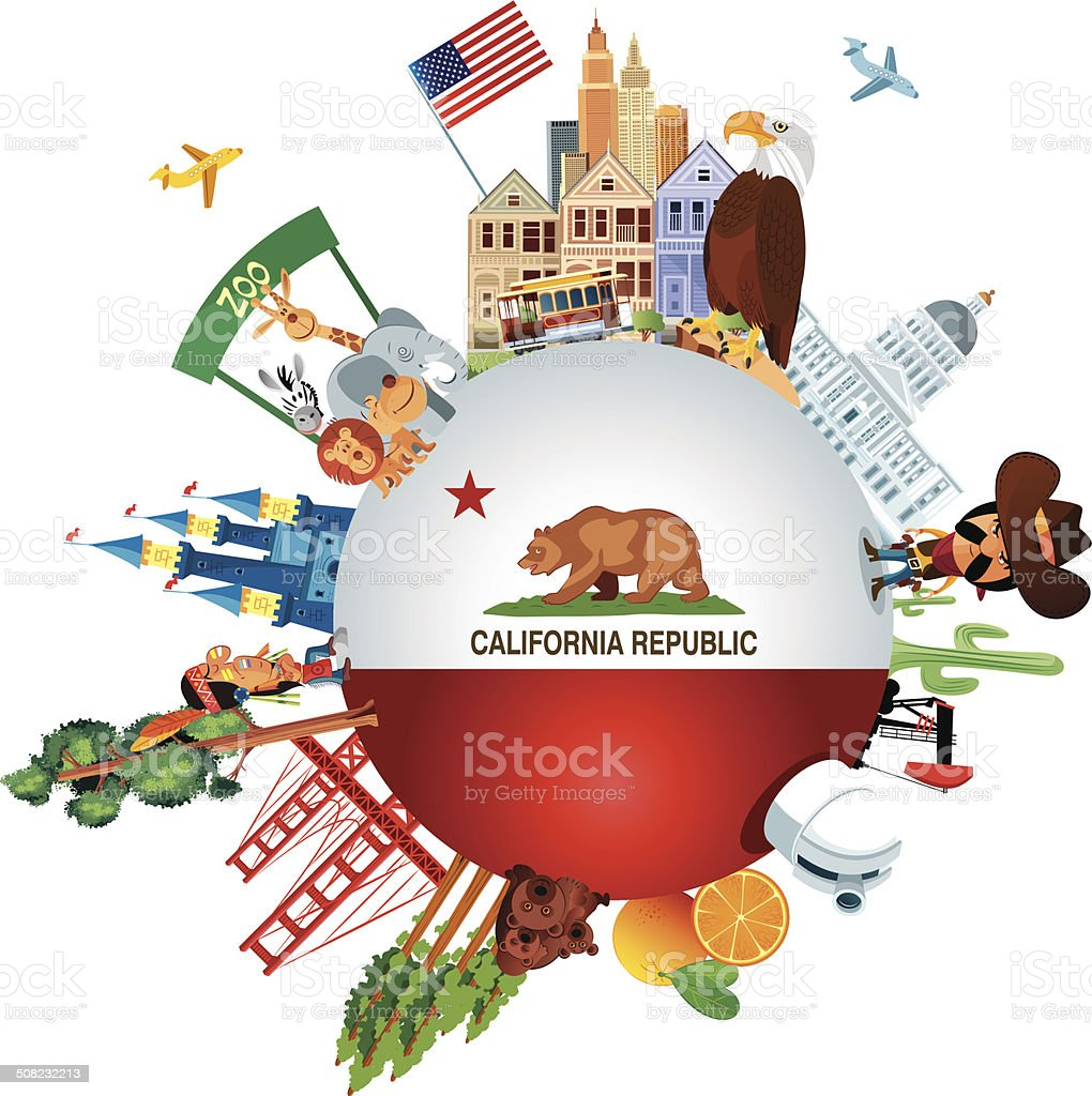 California Travel vector art illustration