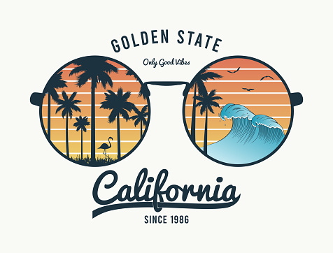 California t-shirt design with color sunglasses with palm trees silhouette, flamingo and waves. Sun glasses print for tee shirt with slogan, tropical palms and beach reflection. Vector