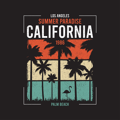 California t-shirt design with silhouette of palm trees and flamingo at color grunge background. Typography graphics for apparel, tee shirt print. Vector