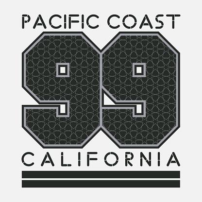 California T-shirt, fashion printing, sport badge number