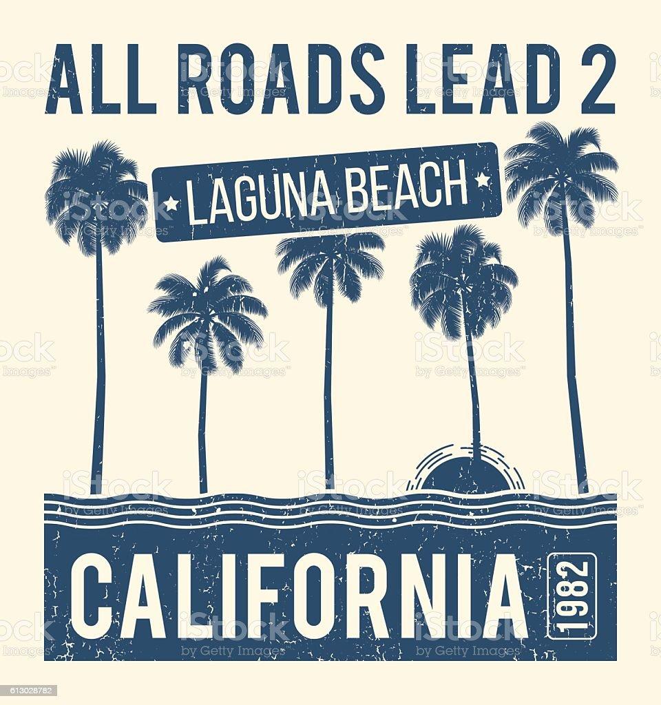 California t-shirt graphic design with palms. T-shirt print vector art illustration