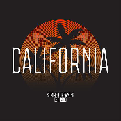 California t-shirt typography. Modern print for tee shirt graphics with palm trees and gradient. Trendy apparel stamp, summer poster design. Vector