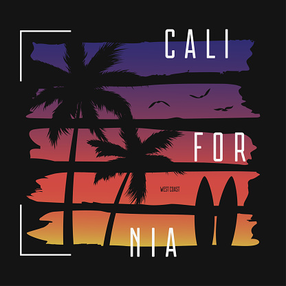 California t-shirt typography with color gradient brushes and palm trees silhouettes.