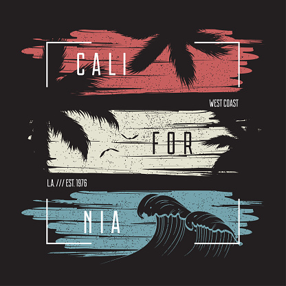California t-shirt typography with color grunge background, wave and palm trees silhouettes.