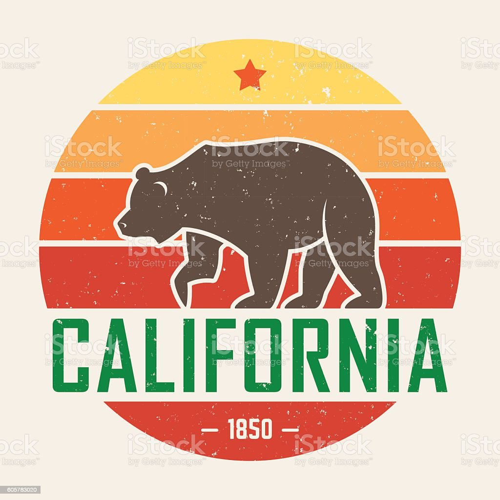 California t-shirt with grizzly bear. T-shirt graphics, design vector art illustration